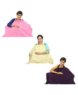 Lulamom Nursing Cover Pack of 3 - Pink Aubergine Yellow