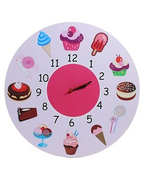 Baby Oodles Ice Cream Theme Wall Clock - White Multicolor