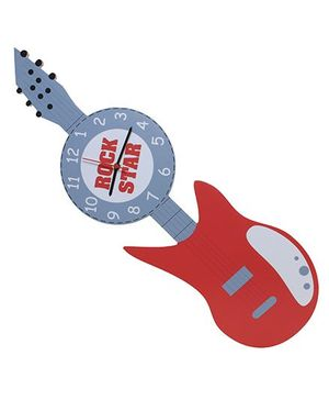 Baby Oodles Rockstar Wall Clock - Grey And Red