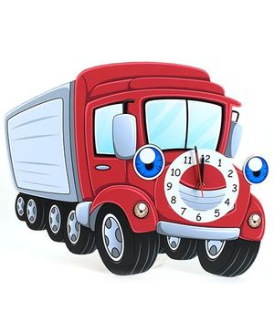 Baby Oodles Truck Wall Clock - Red And Grey