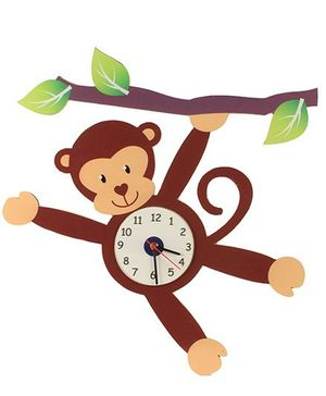Baby Oodles Monkey Wall Clock - Brown