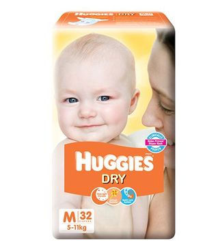 Huggies New Dry Taped Diapers Medium - 32 Pieces