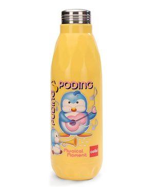 Cello Homeware Cool Jazz Water Bottle Penguin Print Yellow - 600 ml Approx
