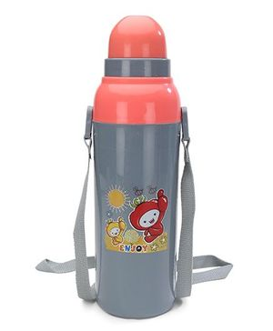 Cello Homeware Cool Wiz Insulated Water Bottle Enjoy Print Grey - 600 ml Approx