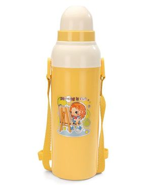 Cello Homeware Cool Wiz Insulated Water Bottle Painting Print Yellow - 600 ml Approx