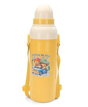 Cello Homeware Cool Wiz Insulated Water Bottle Vehicle Print Yellow - 600 ml Approx
