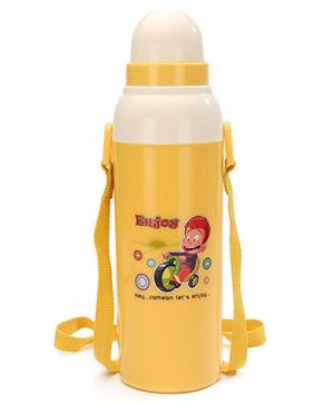 Cello Homeware Cool Wiz Insulated Water Bottle Enjoy Print Yellow - 600 ml Approx