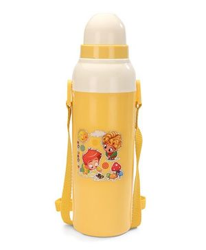 Cello Homeware Cool Wiz Insulated Water Bottle Sun & Mushroom Print Yellow - 600 ml Approx
