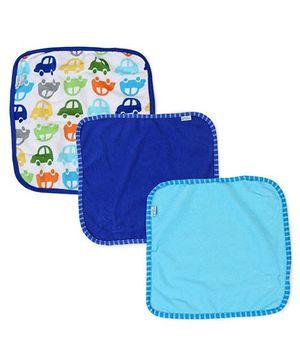 I Play Car Print Pack of 3 Washcloths - Blue
