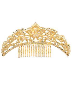 Cutecumber Tiara Shape Partywear Hair Clip - Golden