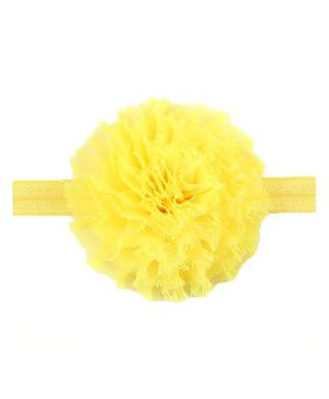 Bellazaara Vintage Chiffon Shabby Flower Hair Bows Headband - Yellow