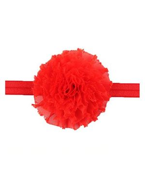 Bellazaara Vintage Chiffon Shabby Flower Hair Bows Headband - Orange