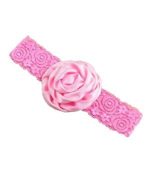 Bellazaara Christening Baby Lace Rose Flower Headband - Pink