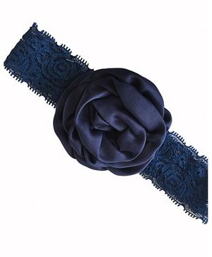 Bellazaara Christening Baby Lace Rose Flower Headband - Blue