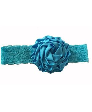 Bellazaara Christening Baby Lace Rose Flower Headband - Blue