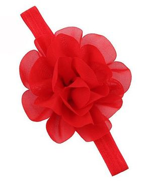 Bellazaara  Chiffon Silk Flowers Soft Stretch Headband  - Red