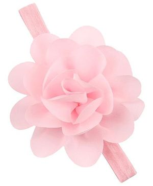 Bellazaara  Chiffon Silk Flowers Soft Stretch Headband - Pink
