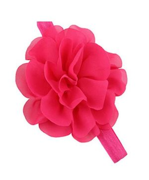 Bellazaara  Chiffon Silk Flowers Soft Stretch Headband - Dark Pink