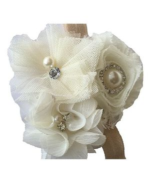 Bellazaara Dressy Headband Shabby Chiffon Rose Flower With Pearl & Rhinestones - White