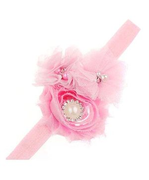Bellazaara Dressy Headband Shabby Chiffon Rose Flower With Pearl & Rhinestones - Pink