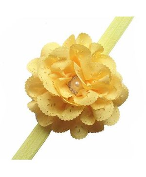 Bellazaara Eyelet Flower Headband With Pearl Crystal Center - Yellow