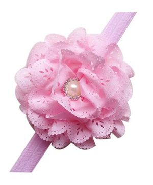 Bellazaara Eyelet Flower Headband With Pearl Crystal Center - Pink