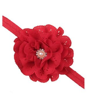 Bellazaara Eyelet Flower Headband With Pearl Crystal Center - Red