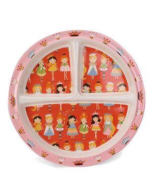 Sugar Booger Divided Suction Plate Princess Print  - Orange & Light Pink