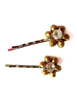 Soulfulsaai Beaded Flower Hair Pins - Golden