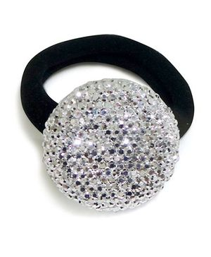 Aayera's Nest Bling Ball Rubber Band - Silver & Black