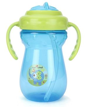 1st Step Two Handle Straw Sipper Blue & Green - 350 ml
