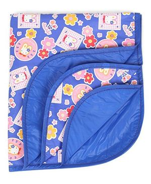 1st Step Baby Mat With Cute Rabbit Prints - Royal Blue