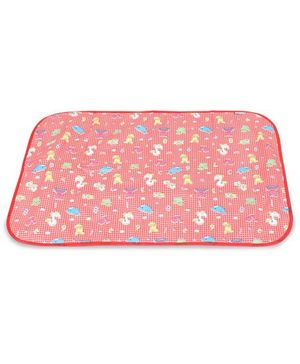 1st Step Baby Mat With Check And Animal Prints - Red