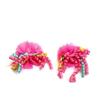 NeedyBee Floral Bow Hair Clips - Pink