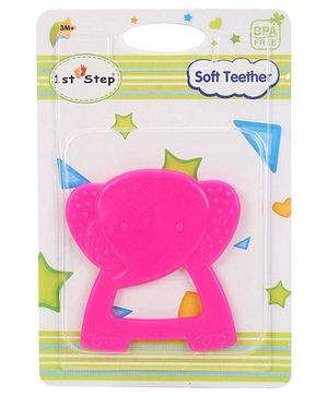 1st Step Soft Elephant Shaped Teether - Pink