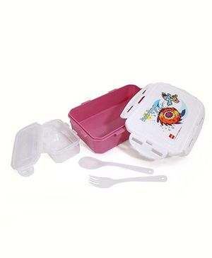 Cello Homeware Enigma Lunch Box With Small Container Spoon And Fork - Pink