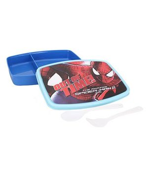 Cello Homeware Spider Man Print Lunch Box With Spoon And Fork- Blue