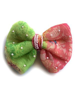 Pretty Ponytails Bow Hair Clip - Pink & Green