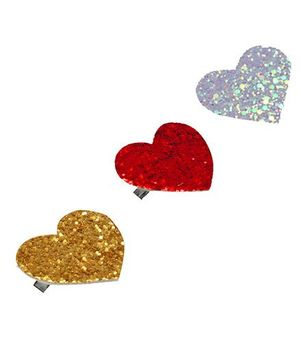 D'Chica Set Of 3 Heart Clips For Girls - Pink Purple & Golden