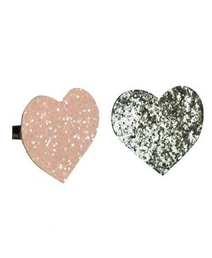 D'Chica Set Of Two Heart Clips For Girls - Silver & Pink