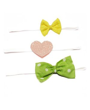 D'Chica  Set Of 3 Prety Headbands For Girls - Yellow Green & Pink
