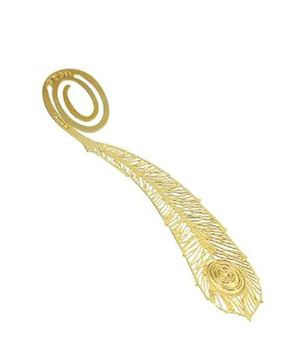 Studio Briana Metal Plated Feathers Shaped  Bookmark - Golden