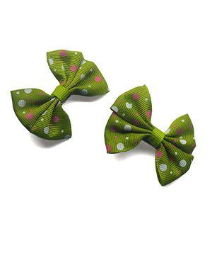 Tiny Closet Polka Dot Print Bow Clip - Green