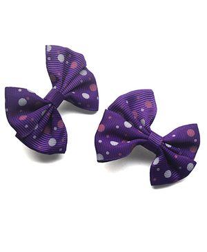 Tiny Closet Polka Bow Clip - Purple