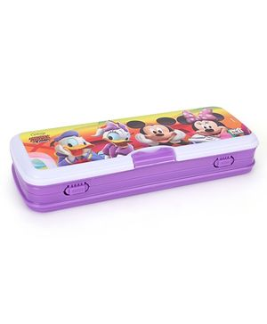 Disney Pencil Box Mickey Mouse And Friends Print - White And Purple