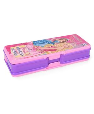 Barbie Printed Pencil Box With Ruler And Pencil - Pink And Purple