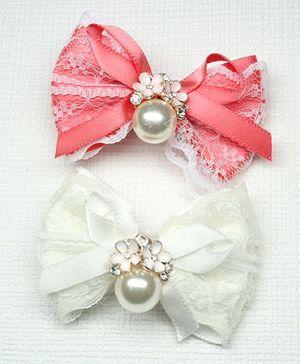 Asthetika Set Of 2 Bow Hair Clip - Pink & White