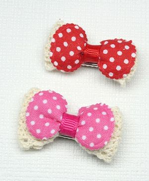 Asthetika Set Of 2 Polka Dota Hair Clip - Red & Pink