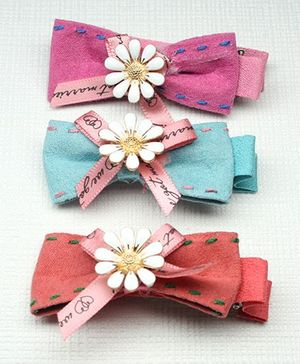 Asthetika Set Of 3 Flower Hair Clip - Pink Red Blue