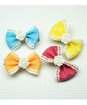 Asthetika Set Of 4 Mini Bow Hair Clips - Multicolour